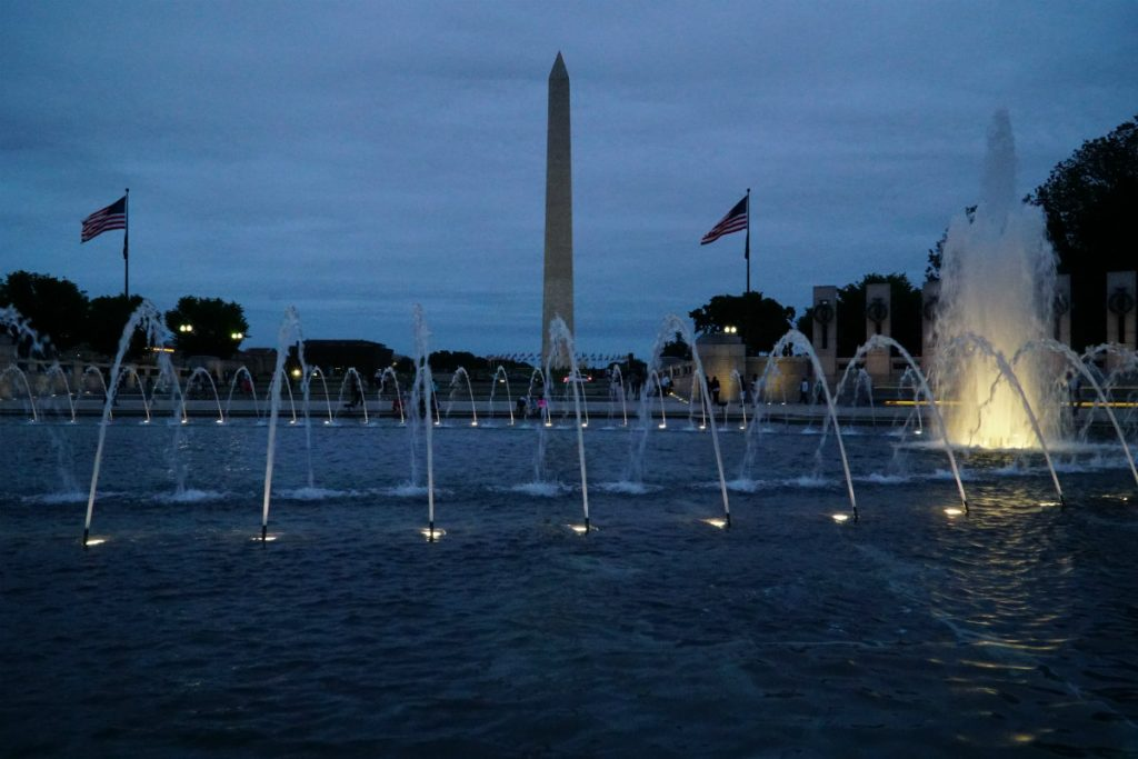 washington dc national mall shot at night