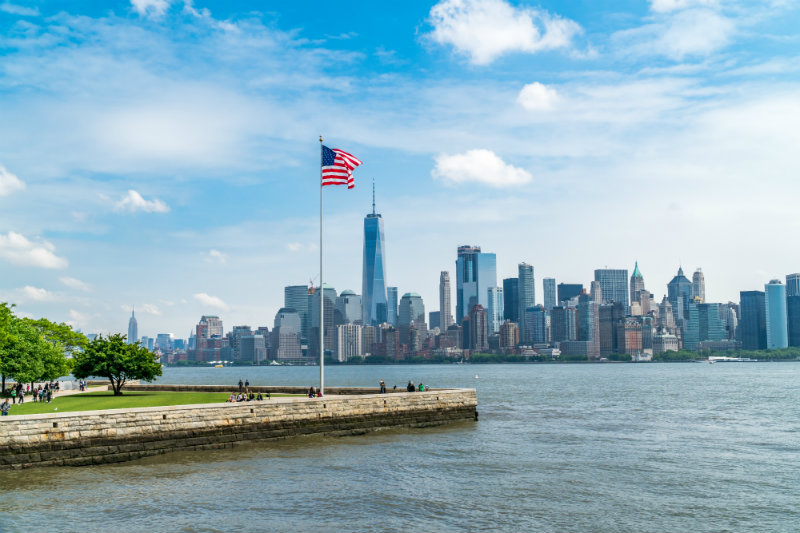 new york city skyline from the statue of liberty