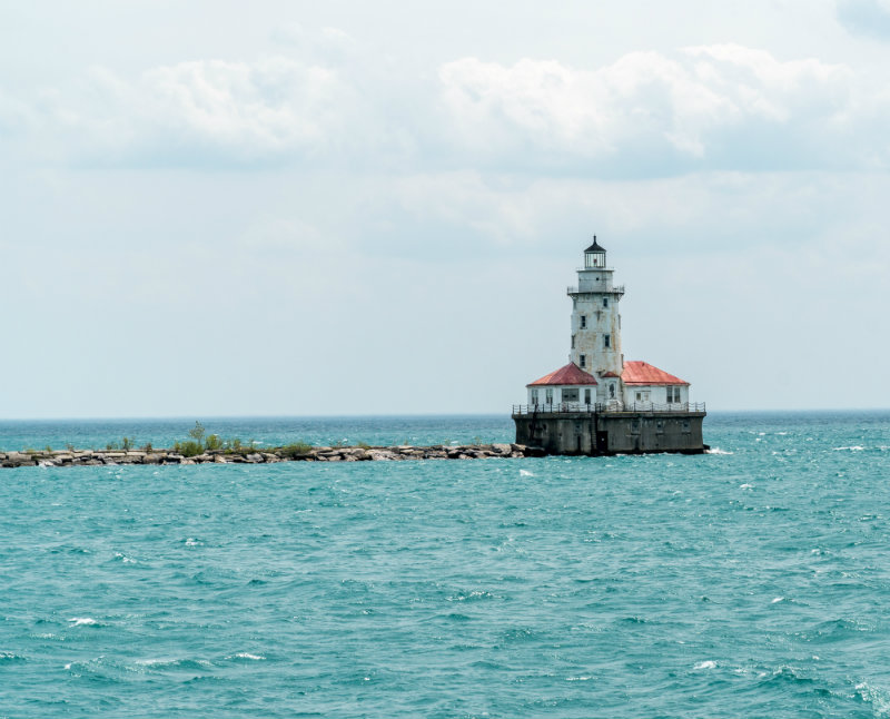 lighthouse in the bay at lake michigan in chicago