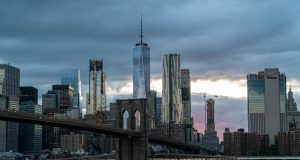 new york city skyline shot at dusk from brooklyn