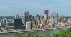 Pittsburgh skyline shot from grand view overlook